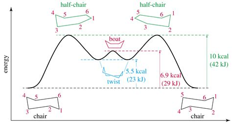 Half Chair Conformation Of Cyclohexane by Chair Conformation Energy Diagram Ldnmen