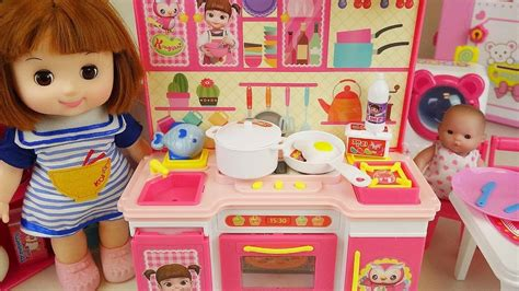 baby doll kitchen  refrigerator cooking food toys youtube