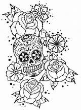 Coloring Pages Roses Skull Adult Badass Calavera Notebook Deviantart Colouring Adults Monsieur Dead Skulls Fairy Tattoo Inspirational Sugar Boardwalk Sheets sketch template