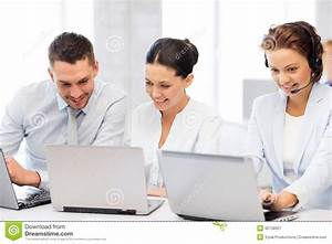Group Of People Working With Laptops In Office Stock Image ...