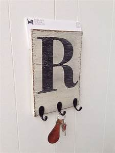 mail organizer holder key hook wood wall letter initial With black letter hooks