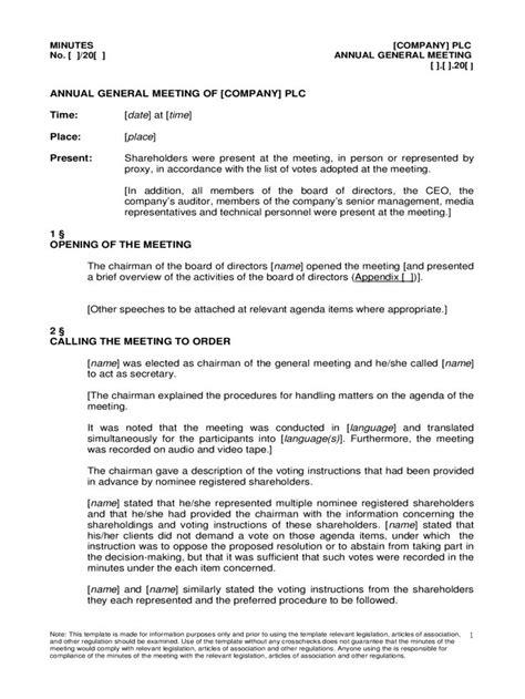 annual general meeting agenda template   templates