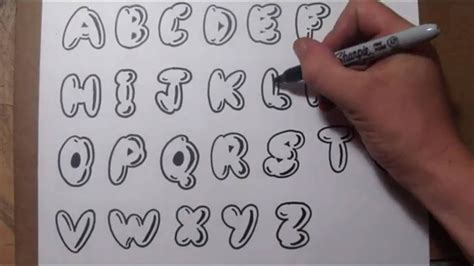 draw bubble letters easy graffiti style lettering