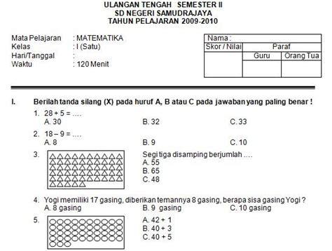 Kelas iv sd bahasa indonesia_kaswan. Soal Uts Matematika Kelas 3 Semester 1 Dan Kunci Jawaban ...