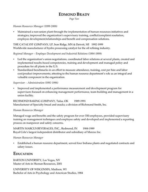 Hr Executive Resume For Freshers by Hr Executive Resume Exle Executive Resume Resume Exles And Resume