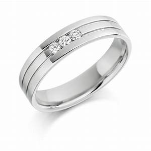18ct white gold 3 stone brilliant cut diamond channel set for Three stone wedding ring set