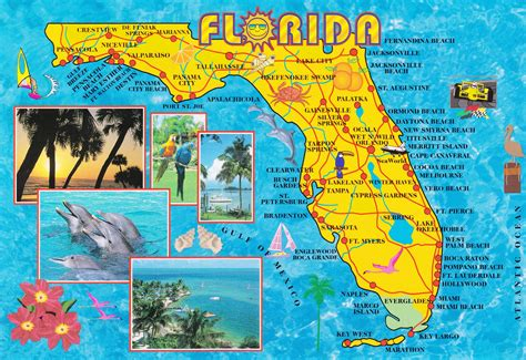 illustrated tourist map  florida