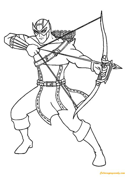 avengers team hawkeye coloring page free coloring pages