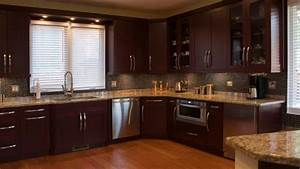 Dark cherry wood kitchen cabinets brown varnished wood for Kitchen colors with white cabinets with glass and metal candle holders
