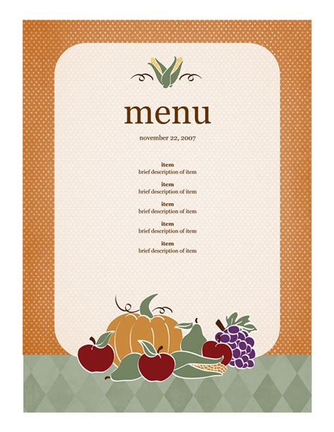 blank menu template free download menu template word