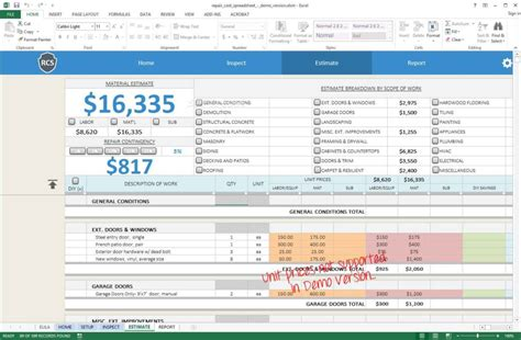 renovation spreadsheet template spreadsheet templates