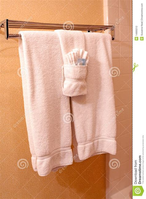 Towels Hanging In Bathroom Stock White Towels On Towel Rack In Hotel Stock Photo Image