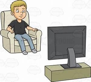 A Man Watching Tv Cartoon Clipart - Vector Toons