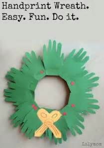 christmas crafts for kids handprint wreaths lalymom