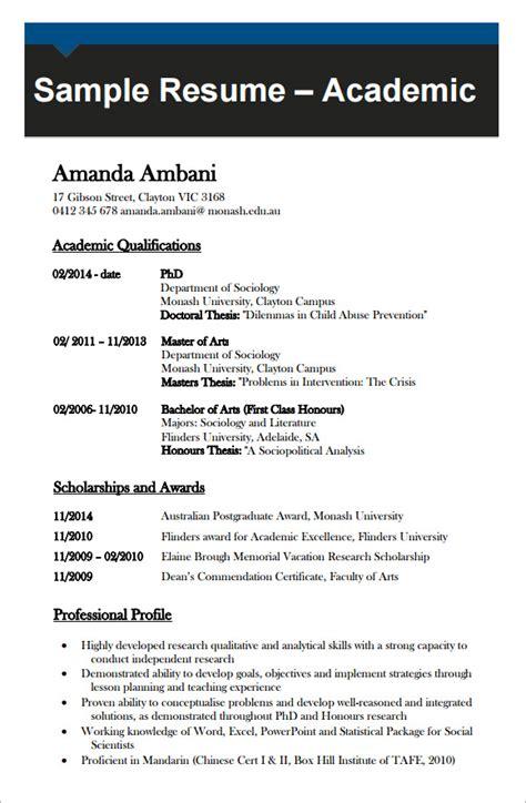 academic cv templates    sample templates