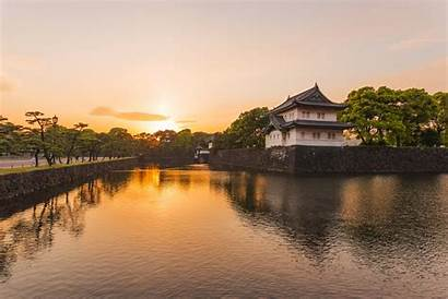 Imperial Sunset Palace Tokyo Scenic Wallpapers Japan