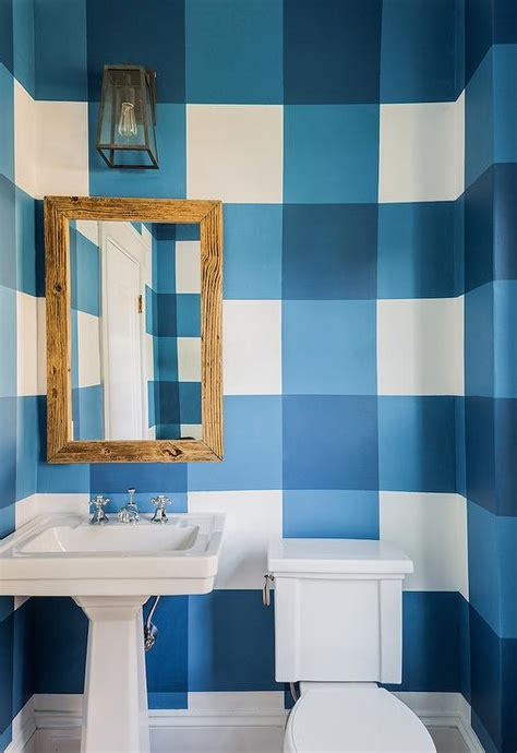powder room  painted blue gingham walls cottage