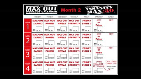 insanity max  calendar month  youtube