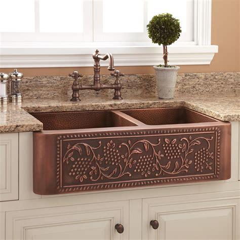 copper kitchen sinks 33 quot vineyard 60 40 offset bowl copper farmhouse