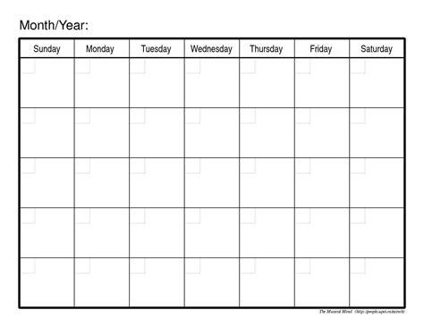 printable monthly calendar generic printable calendar