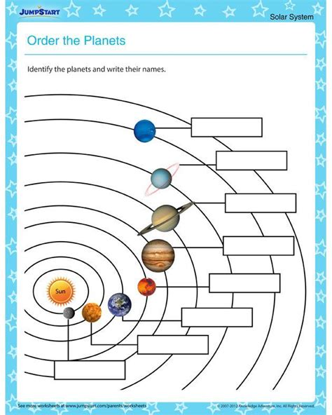 order the planets solar system worksheets for