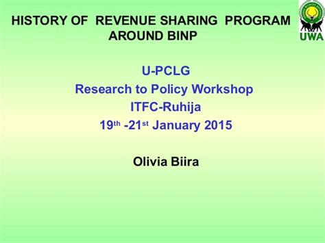 history  revenue sharing program  bwindi