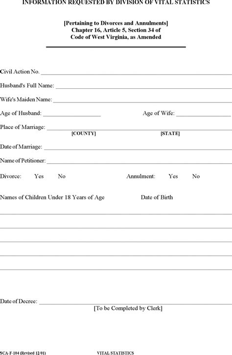 vital statistics form for divorce divorce template free template download customize and print