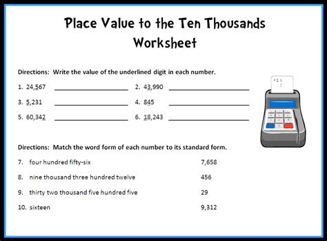 place value worksheets up to ten thousands math numbers operations place value common
