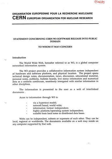 document  officially put  world wide web