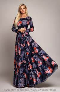 sleeve maxi dresses for weddings blue floral maxi dress sleeve dress by augustvanderwalz
