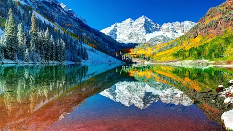 colorado mountain lake hd autumn snow water forest sky wallpapers