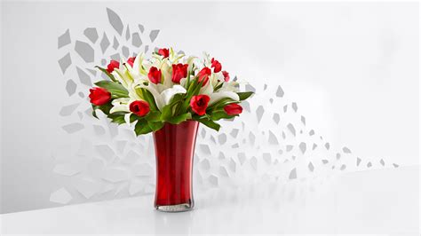 Red Tulips And White Lilies Flowers In A Vase 4k Hd