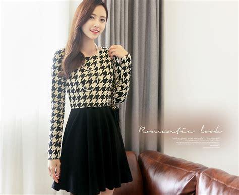 dress import korea dress korea motif houndstooth import model terbaru