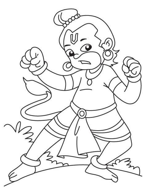 angry hanuman ji coloring page   angry