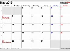 Calendar May 2019 UK, Bank Holidays, ExcelPDFWord Templates