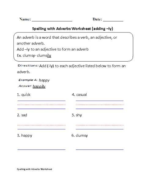 adverbs worksheets spelling with adverbs worksheets