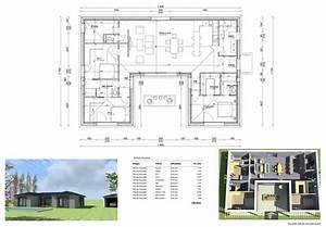 plan maison en u 130 m2 architecture pinterest With plan architecturale de maison
