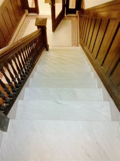 brookline marble steps after cleaning from top view