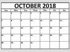 October 2018 Calendar Blank