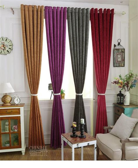 color chenille blue thick blackout curtains for