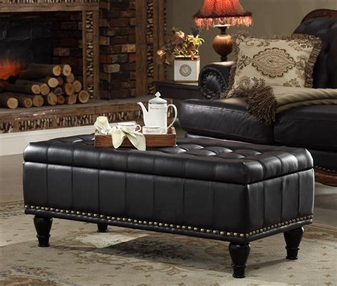 Inspiring Black Leather Ottoman Coffee Table For Your