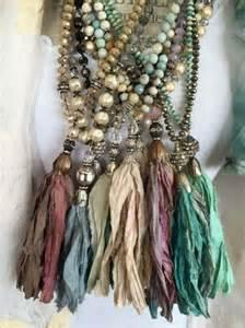 shabby fabric tassels umla via 34 shabby boho glam hand knotted czech crystal sari silk tassel bohemian unique