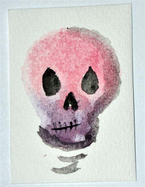 sugar skull inspired stamp  watercolor prints