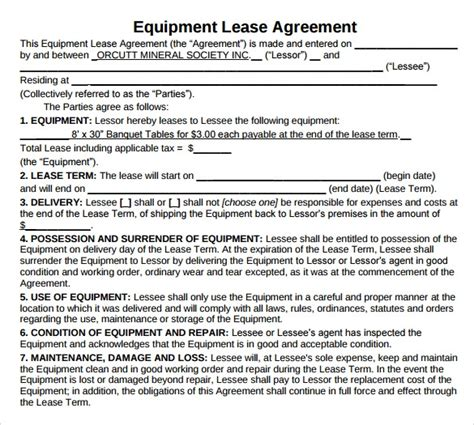 sample equipment lease agreement templates