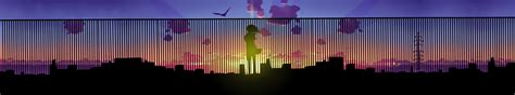 5760x1080 Wallpaper Anime - anime city sunset horizon display