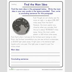 Find The Main Idea The Moon  Worksheet Educationcom