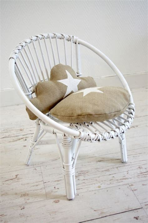 chaise d enfant r 233 tro en osier blanc et coussins lin