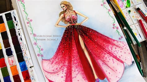 red ombre fashion dress illustration painting