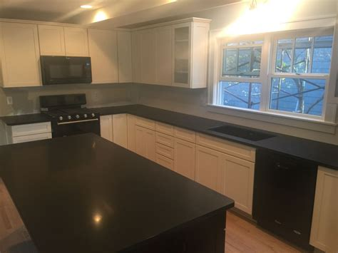 absolute black honed granite countertops for kitchen