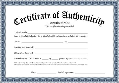 Certificate Of Authenticity Template Authenticity Certificate Artwork Template Certificates Of